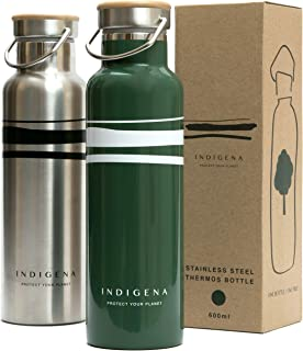 INDIGENA, Eco-Thermal Water Bottle Stainless Steel 600ml BPA Free, WE WILL PLANT A TREE FOR EACH WATER BOTTLE SOLD, Insulated Flasks for Hot Drinks up to 12h, Coffee, Tea, Water, Sport & Nature