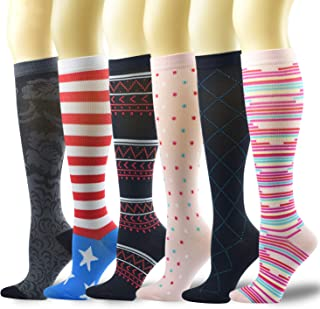 6 Pairs Compression Socks for Women & Men Medical 8-15mmHg