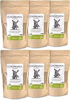 bioKontor // Leinsamenmehl, Leinmehl - teilentölt, low carb, Omega-3-Fettsäuren - 6x500 g - BIO 3000g - 3kg
