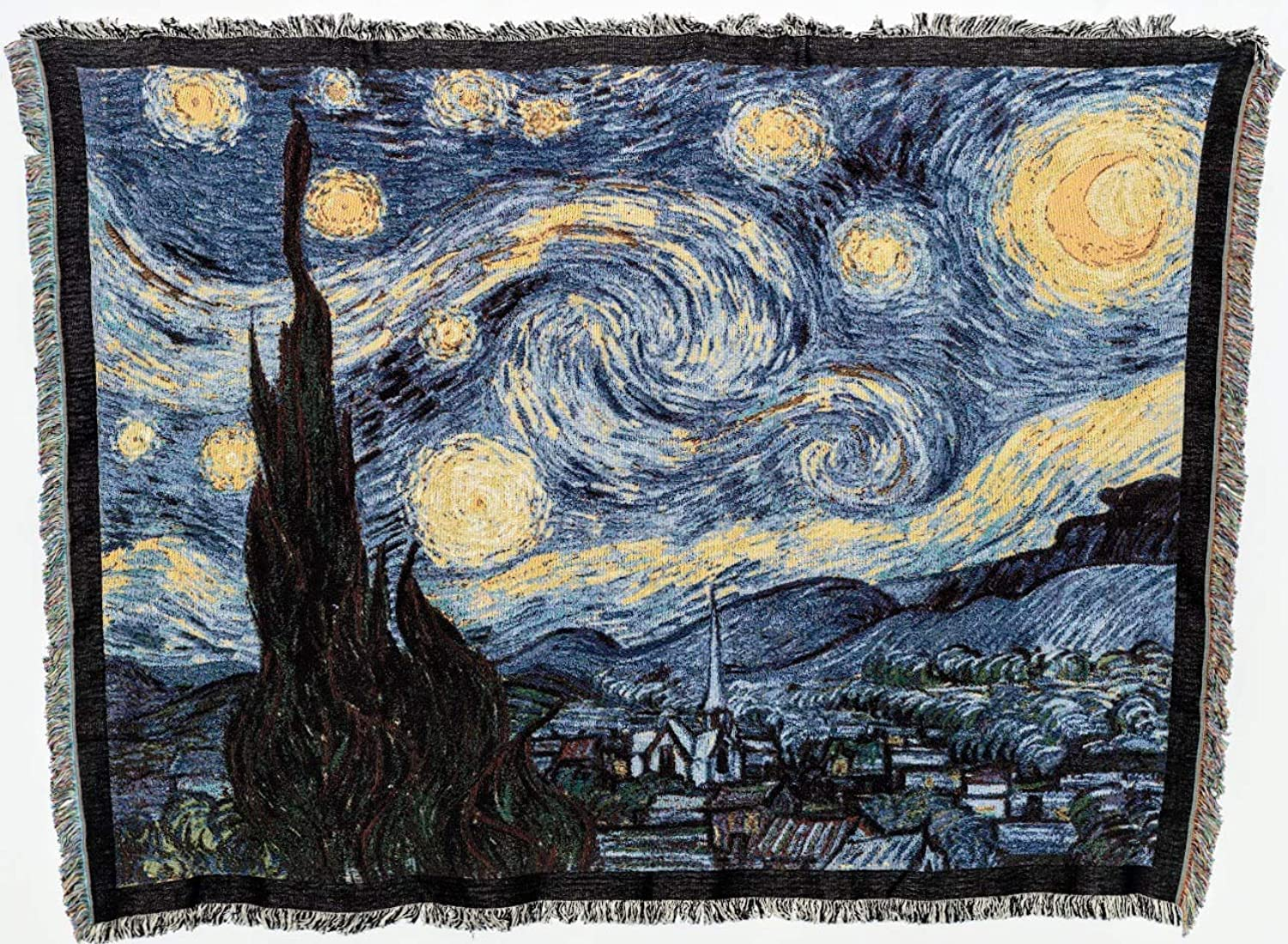 Pure Country Weavers   Starry Night Van Gogh Woven Tapestry Throw Blanket and Wall Hanging with Fringe Cotton USA 72x54