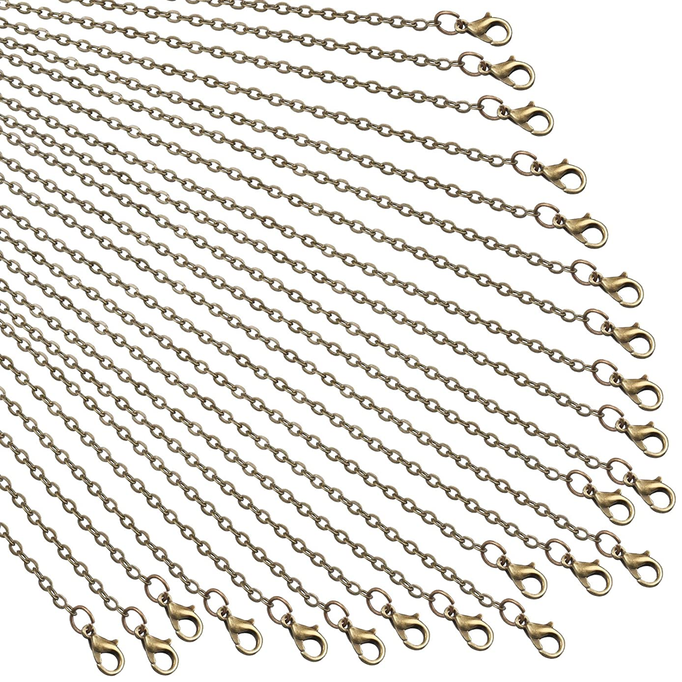 TecUnite 24 Pack Bronze Link Cable Chain Necklace DIY Chain Necklaces (24 Inch)