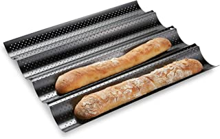 French Bread Baking Pan , Premium Metallic Carbon Steel Baguette Nonstick Tray Baker Board, Perforated Italian Sub Long Roll, Baggette Sourdough Loaf Professional Kitchen, Bakers Dough Making Mold
