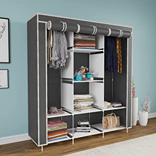 Maison & Cuisine® 6+2 Layer Collapsible Wardrobe for Clothes (88130 Without Pocket, Grey)