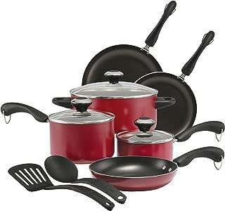 Paula Deen 21994 Signature Dishwasher Safe Nonstick Cookware Pots and Pans Set, 11 Piece, Red