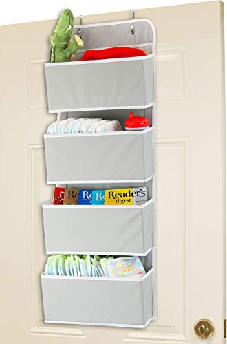 lowest Simple Houseware lowest 4 Pocket Over 2021 The Door Wall Mount Hanging Organizer, Grey outlet online sale