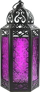 Vela Lanterns Moroccan Style Candle Lantern with LED Lights, Large, Purple Glass