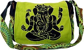 Guru-Shop Bolso de Hombro, Bolso Hippie, Goa Bolsillo Ganesha - Verde, Unisex - Adultos, Algodón, 23x28x12 cm, Bolsas de H...