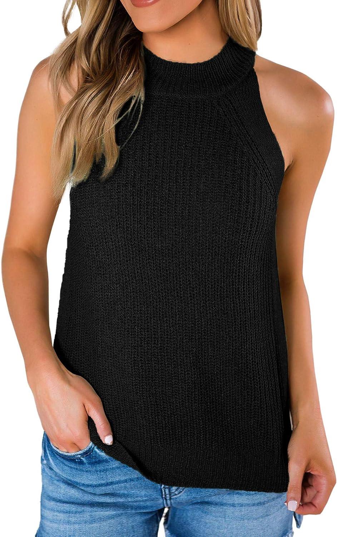 Imily Bela Women's Summer Halter Tank Tops Sleeveless Casual Racerback Loose Shirts Knit Cami Sweater Vest
