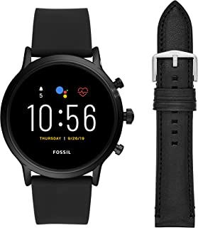 Unisex 44MM Gen 5 Carlyle HR Heart Rate Stainless Steel and Silicone Touchscreen Smart Watch + 22MM interchangable Black Leather Band