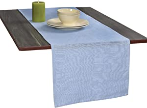 Eloine Linen 14 inches Wide x 72 inches Long Table Runner Light Blue Color for Elegant Table Settings, Suitable for Formal & Informal Events, Moisture Absorbent, Hypoallergenic, Durable