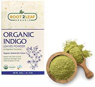 Root2Leaf 100% Herbal Indigo Powder For Hair, Pure Natural and Chemical Free Indigo Leaf Powder, Covers Gray Hair, Strengt...