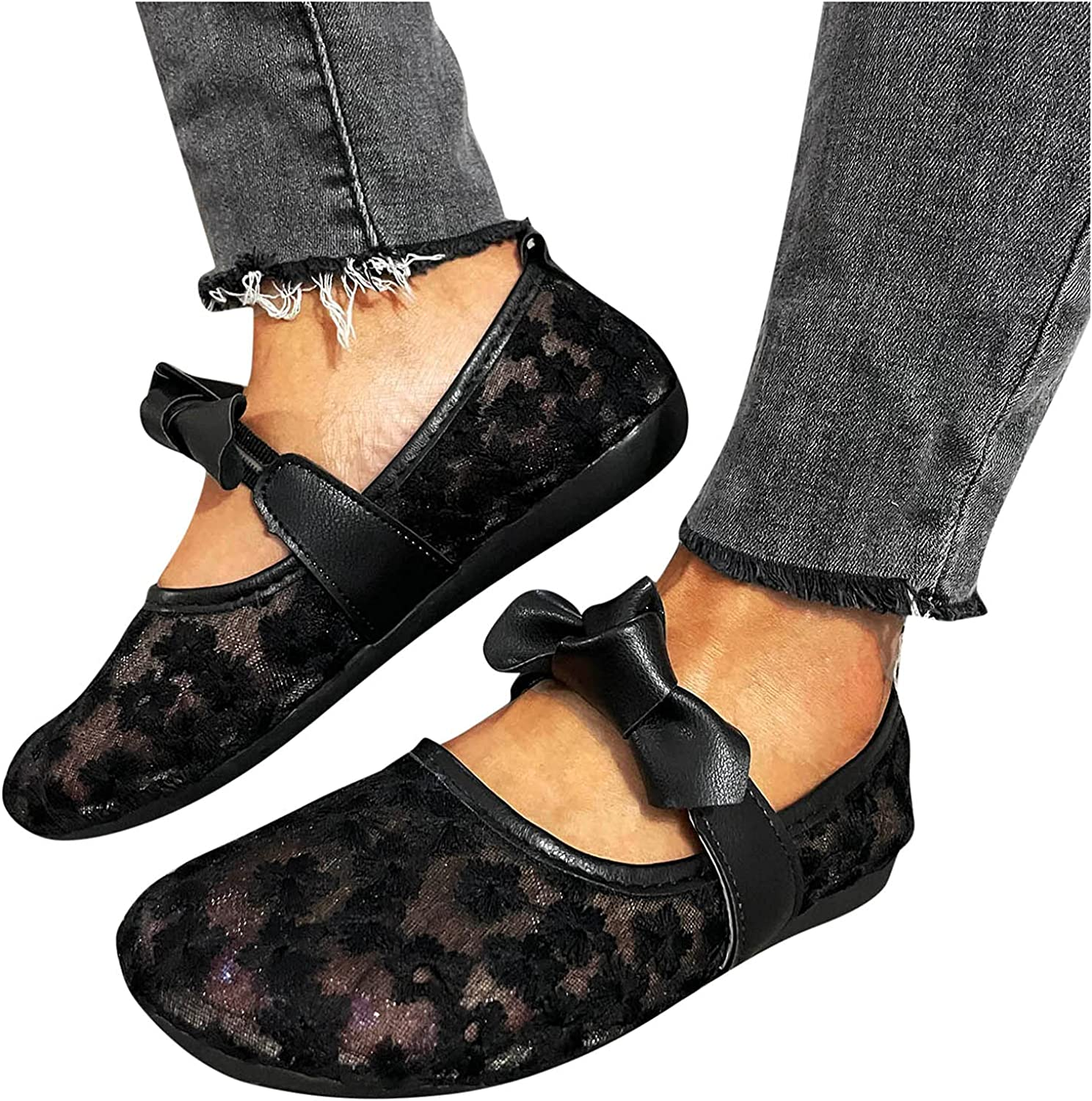 USYFAKGH Pointed Toe Flats for Women Women's Breathable Hollow Flat Shoes Bowknot Lace Mesh Cloth Single Shoes Black