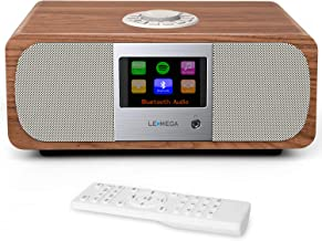 LEMEGA M3+ Smart Music System with Wireless Internet Radio, FM Radio, Bluetooth, Spotify, WIFI, 2.1 Channel Stereo Speaker, USB MP3, Headphone-out, AUX-in, Alarms, Clocks,App & Remote Control (Walnut)