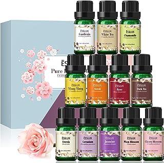 Essential Oils, Esslux Floral Essential Oils Gift Set with Gardenia, Cherry Blossom, Jasmine, White Tea, and More, Pure Ar...