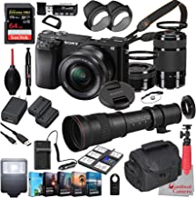 Sony Alpha a6100 Mirrorless Camera with 16-50mm and 55-210mm Lenses Bundle + Extreme Speed 64GB Memory + T-Mount 420-800mm...