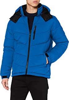Scotch & Soda Men's Repreve Mid-length Quitled Padded Jacket With Contrast Hood Quilted