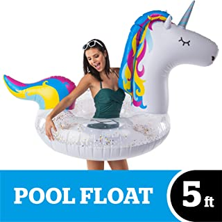 BigMouth Inc. Giant Inflatable Magical Unicorn Pool Float with Glitter Inside, Patch Kit Included, Swim Tube