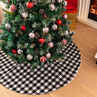 DegGod 48 inches Checked Christmas Tree Skirt, White and Black Buffalo Plaid Double Layers Xmas Tree Base Cover Mat for Ch...