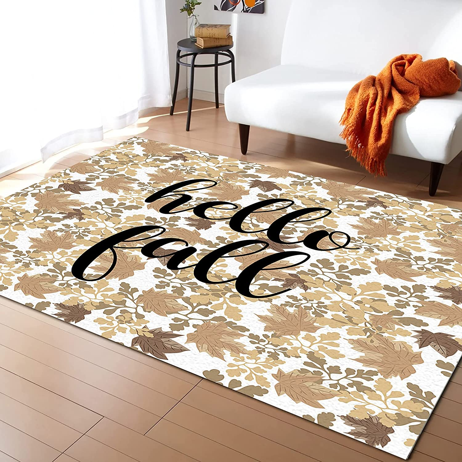 Detroit Mall LEOSUCRE Large Area Rugs 5' x Leaves Ranking TOP11 Thanksgiving Maple 7' Fall