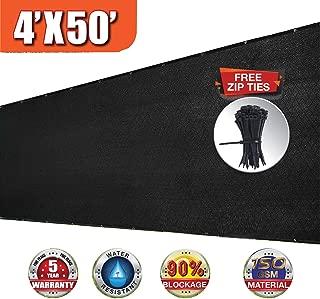 EVERGROW 4' x 50' Black Fence Privacy Screen Windscreen Cover Outdoor Patio Fabric Shade Tarp Netting Mesh Cloth 150 GSM 5 Years Warranty Free Zip Ties 4 feet x 50 feet Black