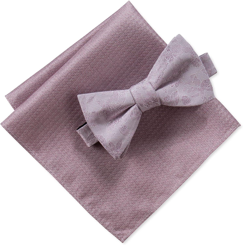Ryan Seacrest Distinction Men's One Bow Tie Pocket Square Set Pink One Size