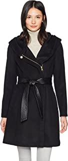 Women's Belted Asymmetrical Wool Coat with Oversized Hood