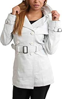 HOL Ladies Double Breasted Mid Length Trench Leather Reefer Coat Sienna White