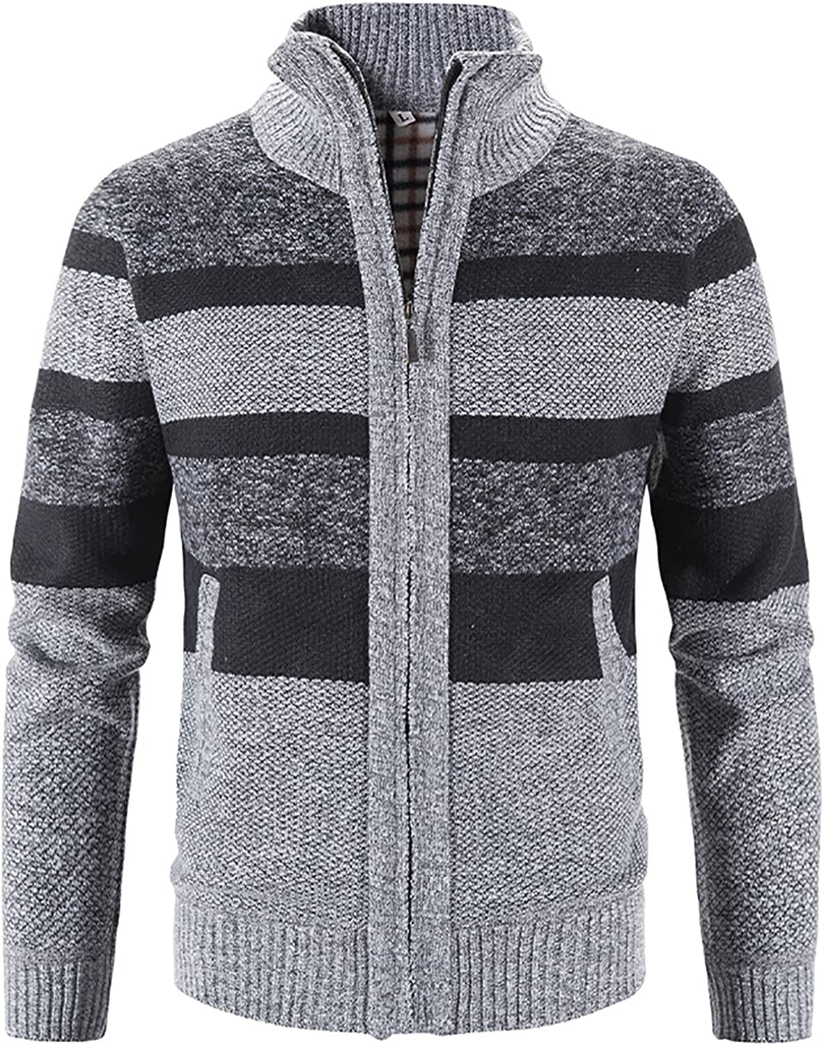 Men's Solid OFFicial store Color Cardigan Sweaters Full Stand Sli Collar Zip Up Austin Mall