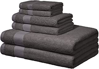 AmazonBasics – handdukar för vardagen – 2 handdukar, 2 handdukar och 2 tvättlappar, dimgrå