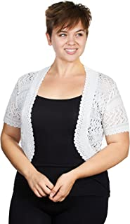 Womens Plus Size Womens Acrylic Pointelle Knit Bolero Jacket (See More Colors and Sizes)