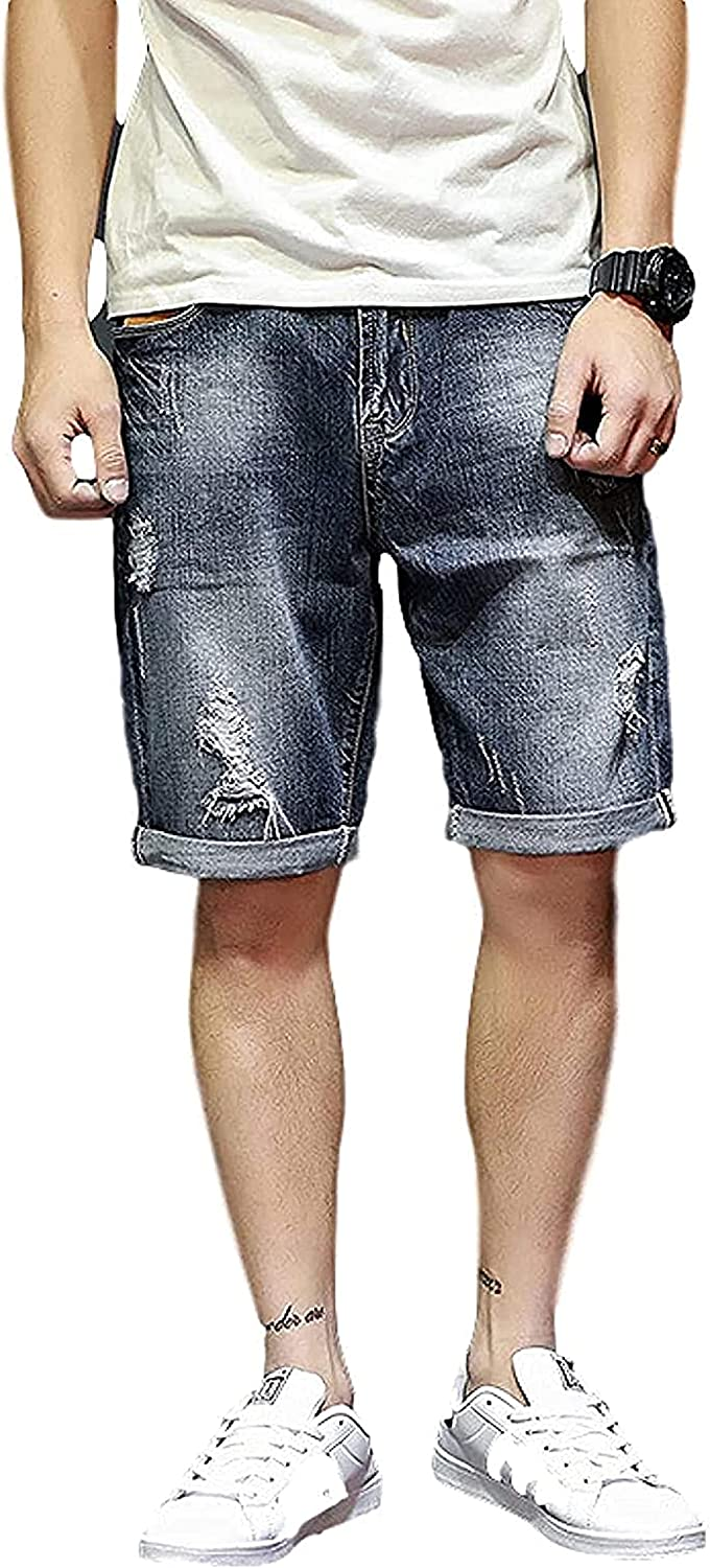 LLTT Men's Straight Denim Shorts with Ripped Holes Relaxed Fit Comfortable Zipper