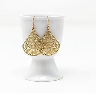 Golden Teardrop Filigree Dangle Earrings