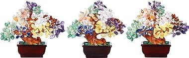 CrystalTears Chakra Crystal Money Tree Reiki Healing Crystal Gemstone Bonsai Tree Feng Shui Tree Ornament for Home Decor Weal