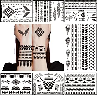 TAFLY Lace Black Chains Tattoo Waterproof Body Henna Transfer Tattoos Stickers for Women & Girls -Bracelets,Necklaces,Wing etc 7 Sheets