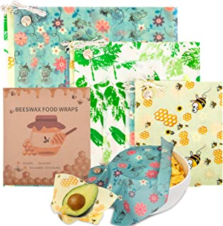 Beeswax Wrap, 9 Pack Reusable Food Wrappers, With Wrap Around Ties Sustainable Bowl Covers, Washable Biodegradable Wax Pap...
