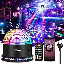 Boule Disco LED Bluetooth, Effets de Lumière LED Lecteur de Musique Lumière de Fête Boule Magique Disco RVB avec Télécommande 6 Modes D'éclairage Activés par la Voix pour la Salle de Fête Noël