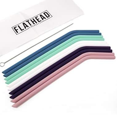 Flathead Set of 10 Reusable Silicone Drinking Straws - Extra long for 30oz and 20oz tumblers - Comes with cleaning brush