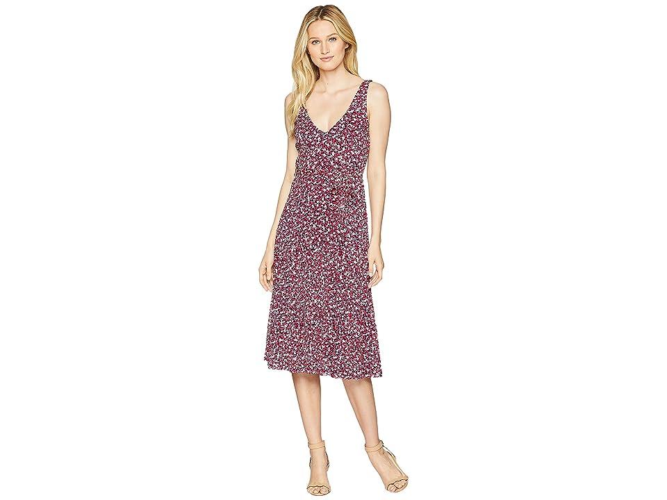 MICHAEL Michael Kors V-Neck Tank Flare Dress (True Navy/Bright Blush) Women