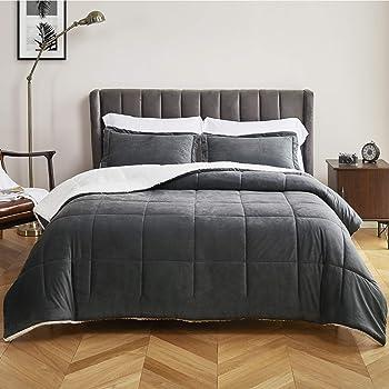 Bedsure Flannel Fleece Sherpa Full/Queen Velvet Comforter Set 3 Pieces - (1 Warm Winter Comforter 88x88 and 2 Pillow Shams), Reversible Down Alternative Comforter, Machine Washable, Dark Grey