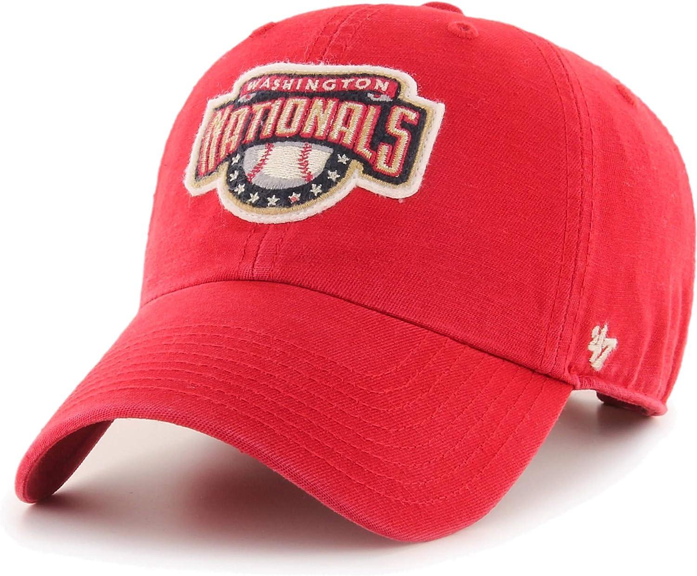 47 Brand Washington Nationals McLean Clean Up Cooperstown Vintage Logo Adjustable Cap, Coop Red Hat
