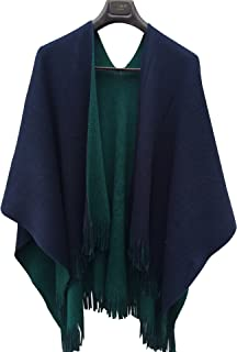 Women's Winter Knitted Faux Cashmere Poncho Capes Shawl Cardigans Sweater Coat