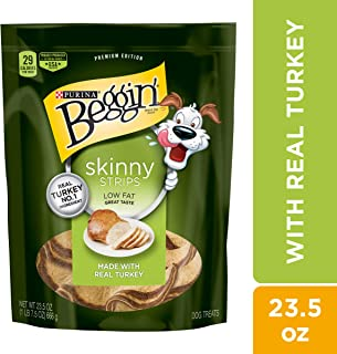 Purina Beggin' Made in USA Facilities Low Fat Dog Treats, Skinny Strips Real Turkey Flavor - 23.5 oz. Pouch