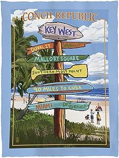 Lantern Press Key West, Florida - Conch Republic - Destinations Sign 46964 (60x80 Poly Fleece Thick Plush Blanket)