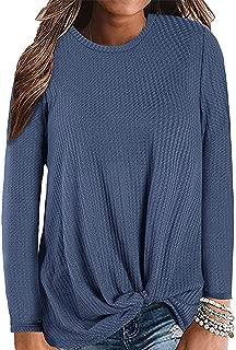 Womens Waffle Knit Twist Knot Shirt Tops Casual Loose Plain Tunic Boho Fall Pullovers Sweaters