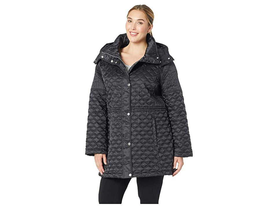 Marc New York by Andrew Marc Plus Size Tribeca Polyfill Quilt Zip Front Snap Front (Black) Women