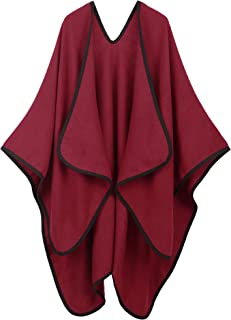 Women's Vintage Soft Merino Wool Kimono Wrap Cardigan Ruanas w/Tassels