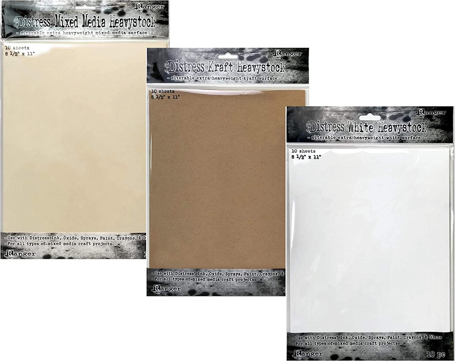 Tim Holtz Distress White Kraft and Heavystock New arrival Media Fixed price for sale Mixed 1 8