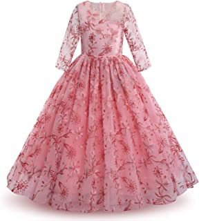 OBEEII Girls Flower Dress Full Length Princess Maxi Gown Pageant Wedding Formal Party