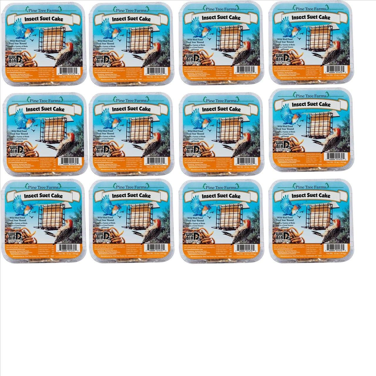 12 Pack Pine Tree Farms Insect Suet Cakes 12 oz. 1470 Made in USA