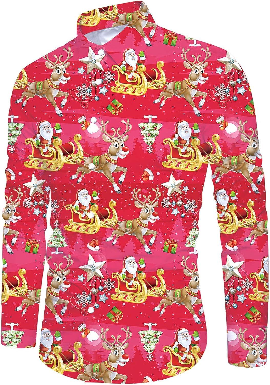 uideazone Mens Ugly Christmas Dress Shirt Long Sleeve Santa Claus Hawaiian Shirt
